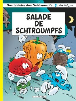Couverture du livre : Les Schtroumpfs, tome 24 : Salade de Schtroumpfs