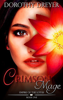 """Couverture du livre : In the Empire of the Lotus Series book 1 : """"Crimson Mage"""""""