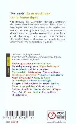 Couverture du livre : Les mots du merveilleux et du fantastique