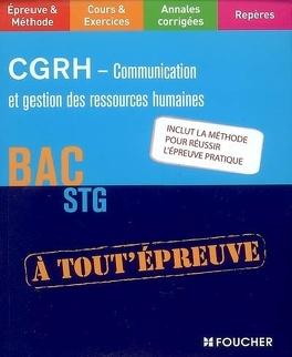 Couverture du livre : CGRH, communication et gestion des ressources humaines : bac STG