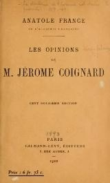 Couverture du livre : Les Opinions de Jérôme Coignard