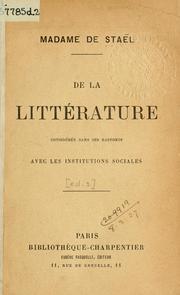 Couverture du livre : De la littérature considérée dans ses rapports avec les institutions sociales