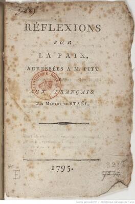 Couverture du livre : Réflexions sur la paix adressées à M. Pitt et aux Français