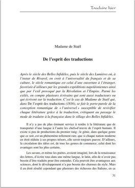 Couverture du livre : De l'esprit des traductions